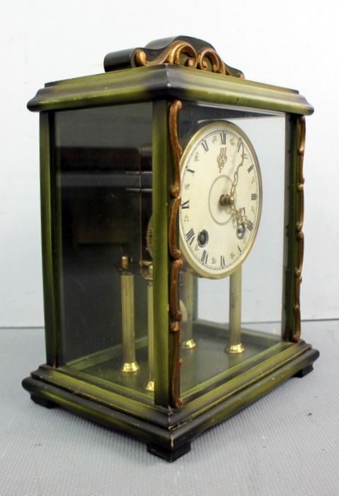 EUJ - Brass clock in wooden case with glass - wood, brass and glass