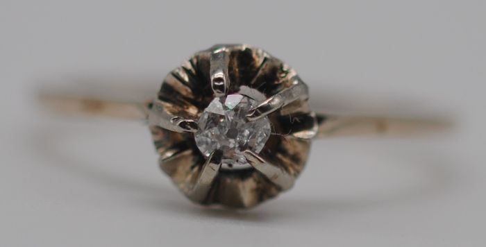 Old-Cut Diamond Solitaire (0.10ct) - 9K Yellow gold - Ring