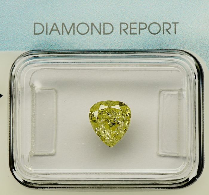 1 pcs Diamond - 1.06 ct - PEAR MODIFIED BRILLIANT  - fancy light yellow - I1 - No Reserve
