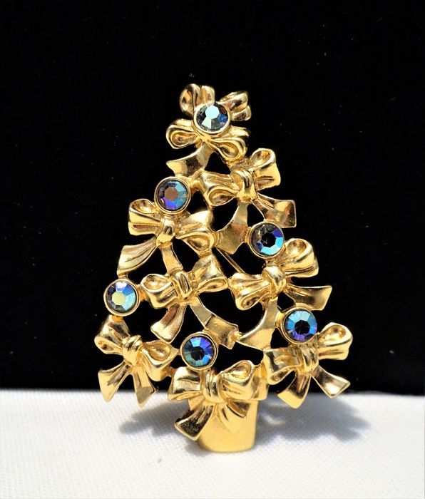 Avon Gold-plated, Aurora Borealis Crystals - Christmas Tree Brooch