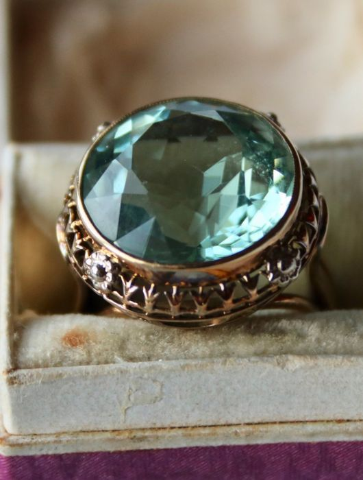 14 kt. Yellow gold - Ring - 13.50 ct natural Aquamarine - handcrafted - unique