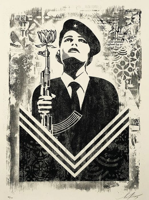 Shepard Fairey (OBEY) - 'Damaged Stencil Series: Peace Guard'