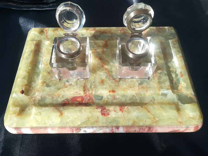 Double Marble Inkwell light green and red