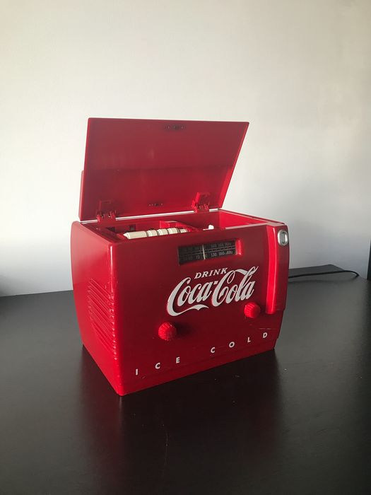 Coca-Cola Cooler Radio OTR-1949 - plastic + metal + wood (1) - Glass, Wood