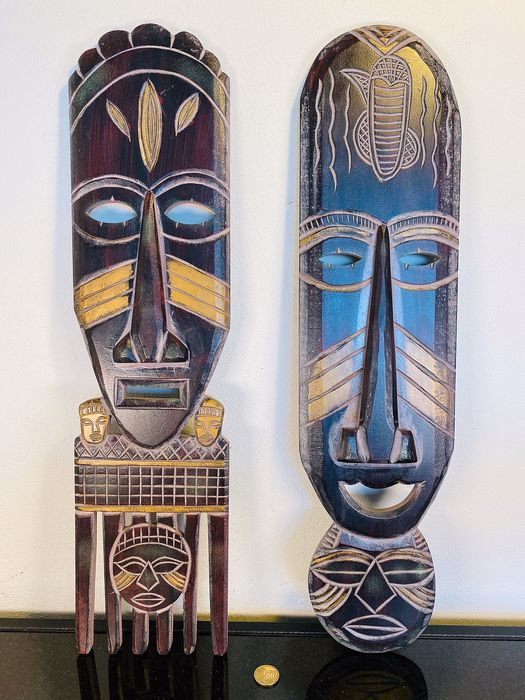 Set of two long wooden African masks - 60 cm - Africa (2) - Wood