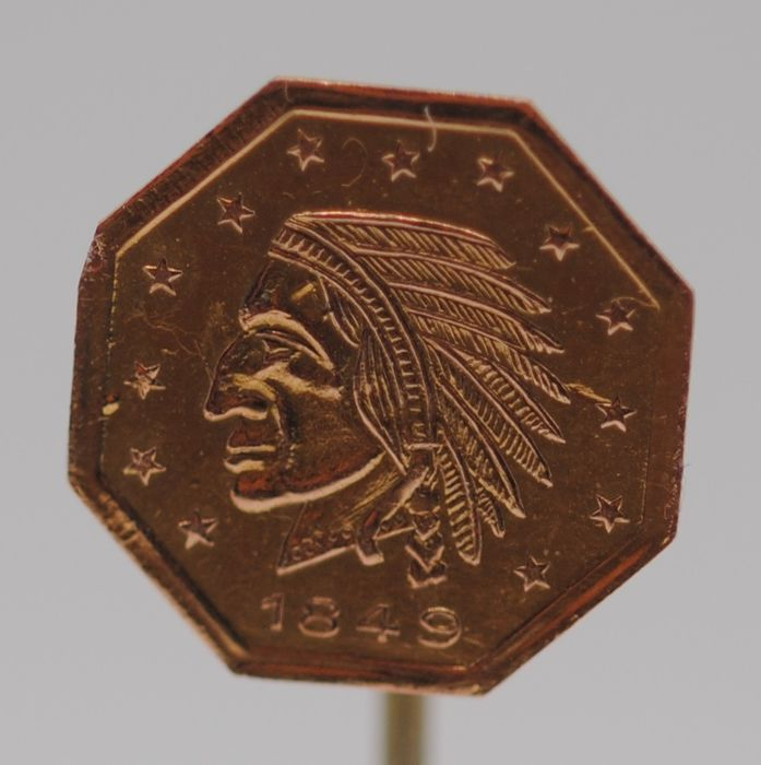 9K Yellow gold - 1849 Indianhead Stickpin