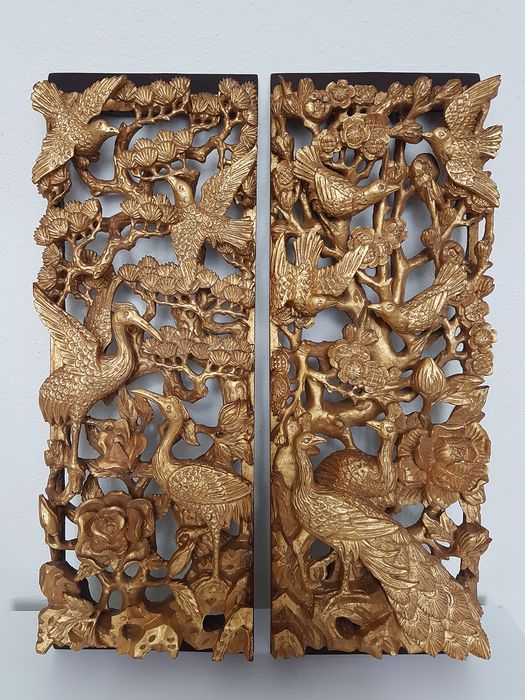 Chinese gilt wood carved tree and birds panels (2) - Wood, Gold plated - China - Second half 20th century