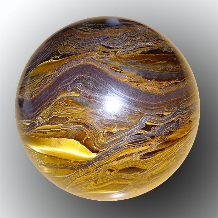 Polished Tiger Eye Sphere with golden and silver layers - 86×86×86 mm - 1040 g