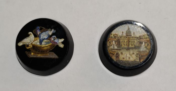 Micromosaic plaques (2) - Glass (stained glass), Stone (mineral stone) - Late 19th century