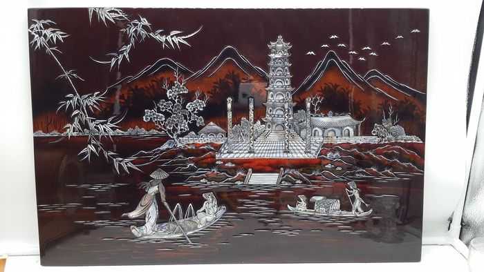 Screen - Scene of ancient rural life - Lacquered Wood - Painting - Nacre - Vietnam - Second half 20th century