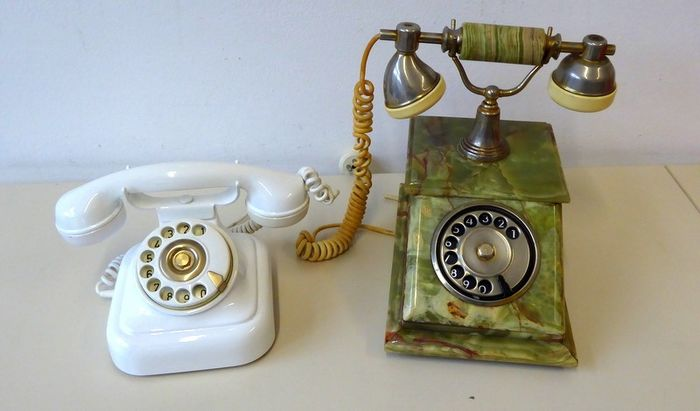 Fixed phones Pair wheel Vintage Mod. Sitel Year 1970/80 - Plastic & Onyx