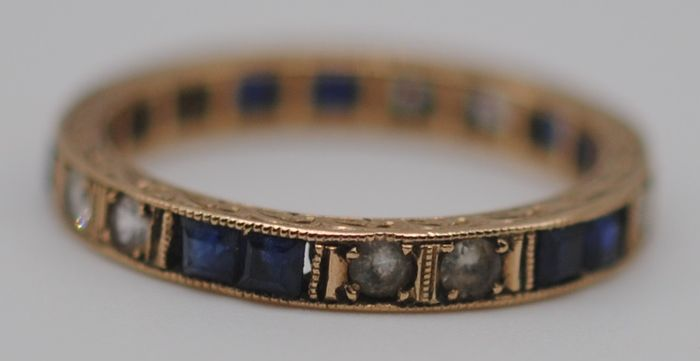 Natural Sapphire (0.70ct) & Synthetic White Spinel  - 9K Yellow gold - Victorian Eternity Ring