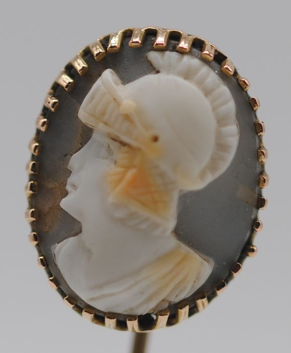 Roman-Themed Warrior Cameo - 9K Yellow gold - Victorian Stickpin