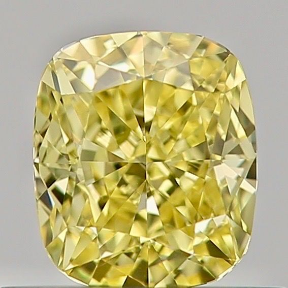 1 pcs Diamant - 0.52 ct - Coussin - fancy intens yellow - VVS2, ***canary***