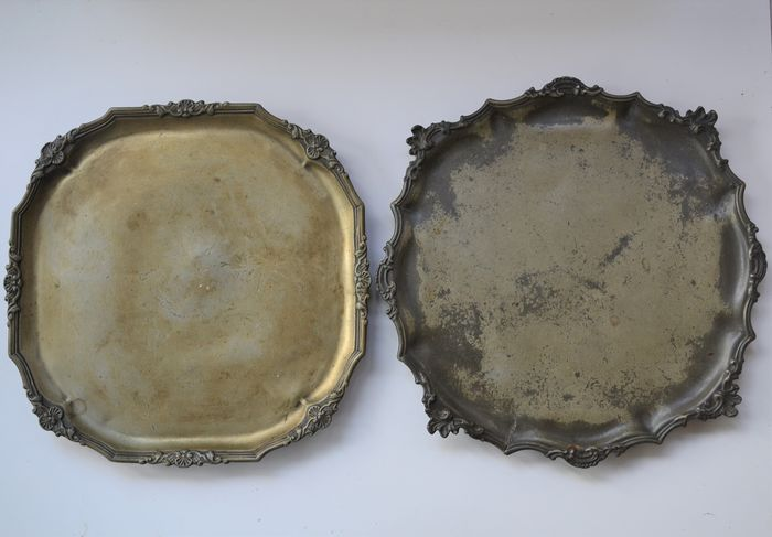 Plate (2) - Rococo Style - Pewter