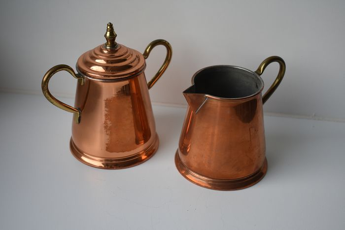 milk and sugar bowl (2) - Red copper