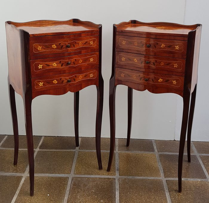 Marquetry side cupboards - Louis XIV Style