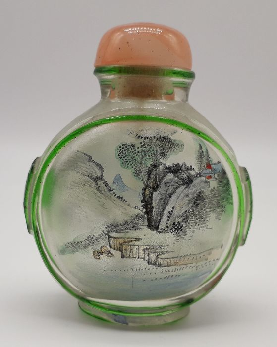 Reverse-Painted Snuff Bottle Depicting Butterflies & Landscape - Glass - China - Second half 20th century