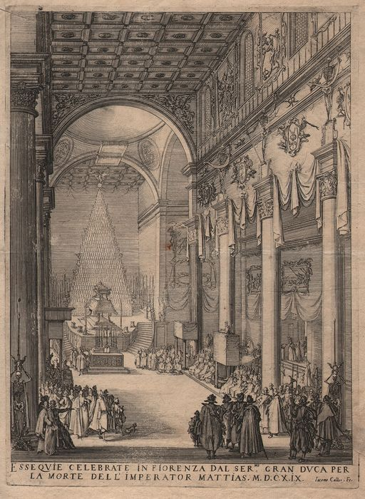Jacques Callot ( 1592-1632 ) - Funerals of emperor Matthias -  San Lorenzo's in Florence,