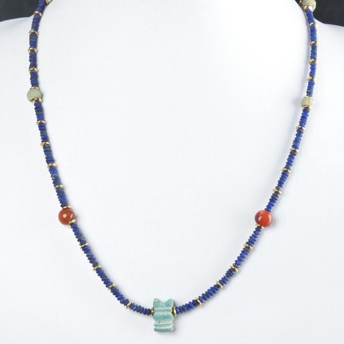 Ancient Egyptian Lapis Lazuli Necklace with Lapis Lazuli, carnelian and faience beads - (1)