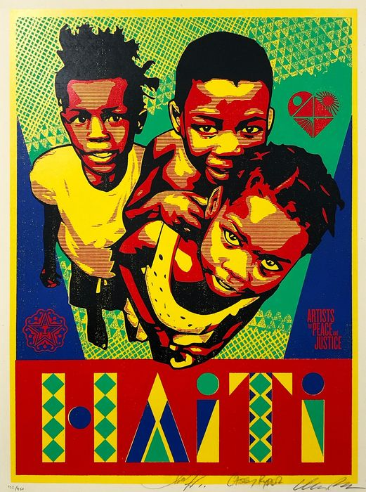 Shepard Fairey (w/Casey Rider + Cleon Peterson) - 'Relief for Haiti' *Very Rare!*