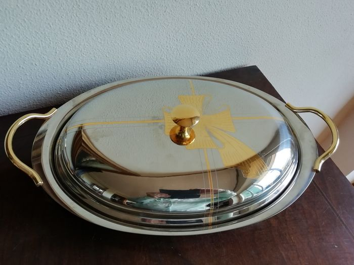 Kessler - Tomasoni - Font, Oval fountain with lid (1) - Romantic - Steel and gold 24 Kt