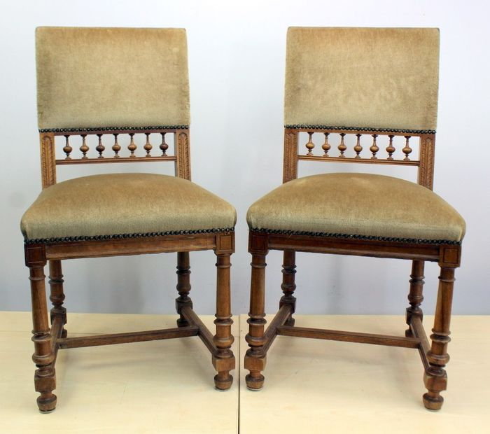 Pair of dining room chairs - Wood- Oak, velvet