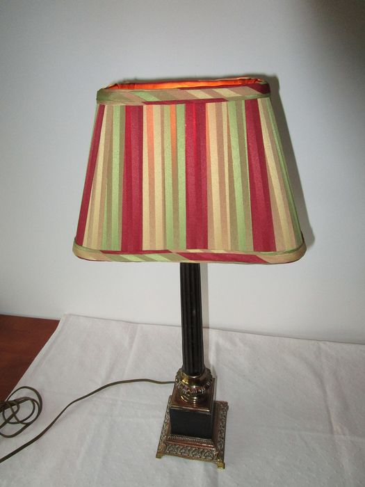 Table lamp - Empire Style - Brass, Silk, Wood