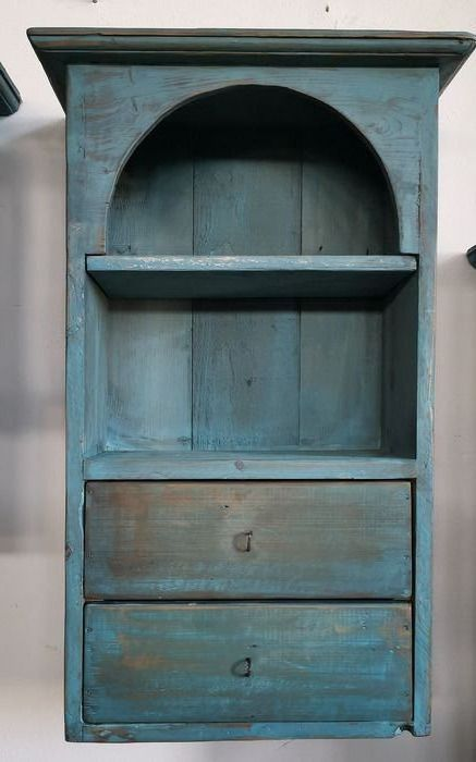 Light blue wooden cabinet with two drawers - Wood