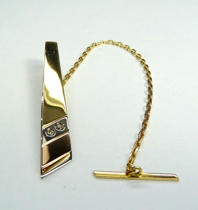 18 kt. Pink gold, White gold, Yellow gold - tie clip