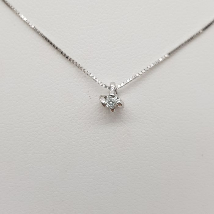 DonnaOro - 18 kt. White gold - Necklace, Necklace with pendant - 0.05 ct Diamond