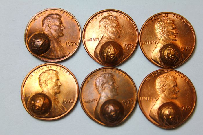 6 masonic penny Lincoln 1970s - Bronze