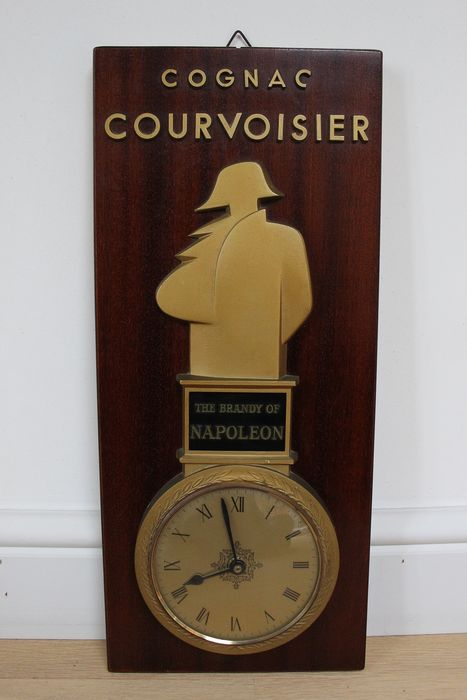 Cognac Courvoisier - Clock - Empire Style - Brass, Glass, Wood