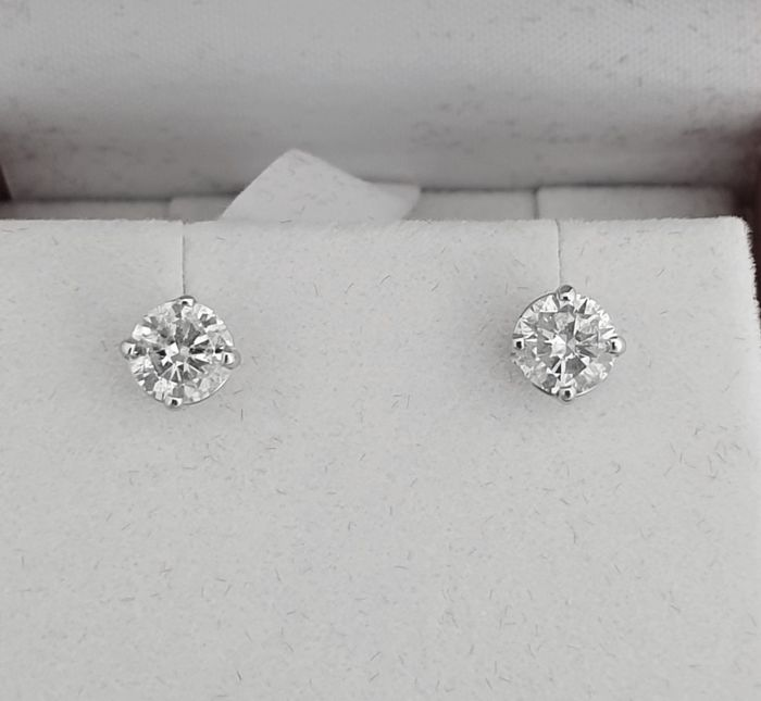 14 kt. White gold - Earrings - Clarity enhanced 0.92 ct Diamond - NO RESERVE PRICE