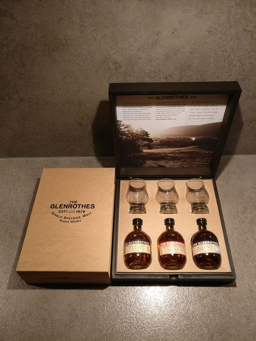 Glenrothes Limited Edition Luxury Wooden Tasting Box - 2004 Vintage - Sherry Cask Reserve - Select Reserve - 100ml - 3 bottles