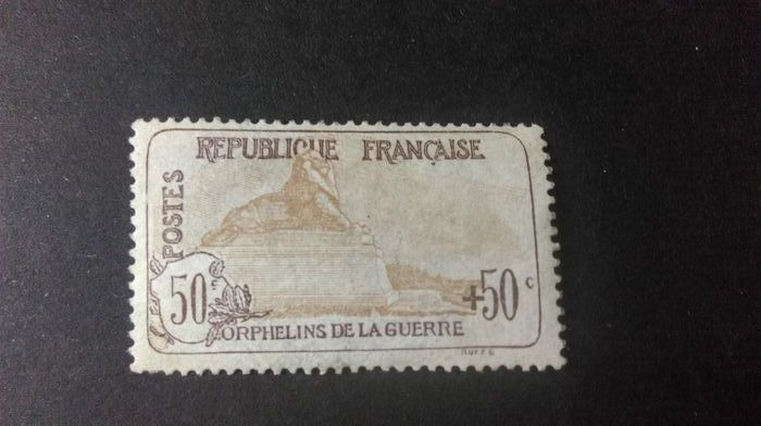 France 1918 - For the benefit of War Orphans, 50 centimes + 50 centimes brown - Yvert 153