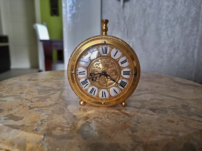 Travel clock - Imhof - Brass golden - mid 20th century