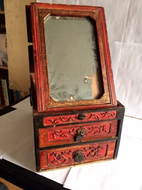 Chinese jewelry box with 2 drawers and mirror - Wood