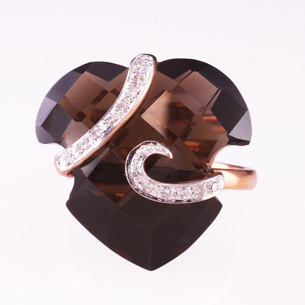 14 karaat Goud - Ring - 17.46 ct Rookkwarts - Diamanten