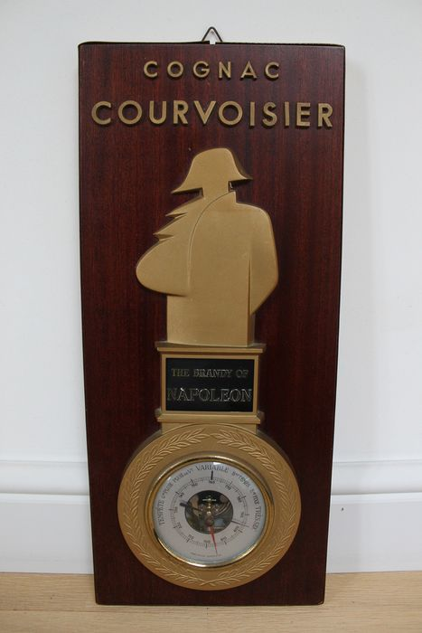 Cognac Courvoisier - Barometer - Empire Style - Brass, Glass, Wood