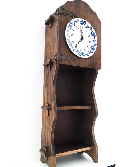Longcase clock, Mantel clock - Folk Art - Ceramic, Porcelain, Wood- Oak
