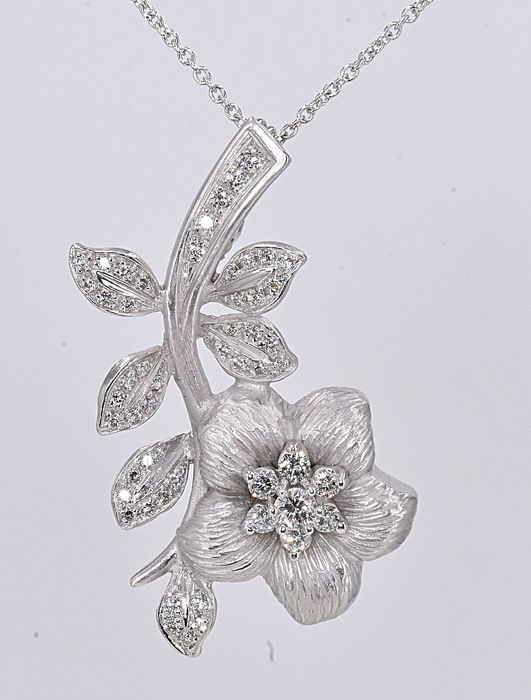 18 carats Or blanc - Collier rose - 0.82 ct Diamant