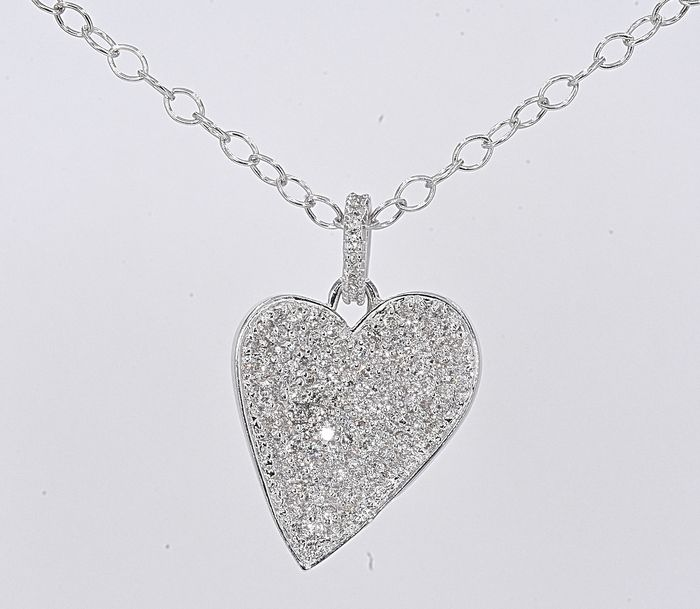 18 kt. White gold - Necklace - 1.21 ct Diamond