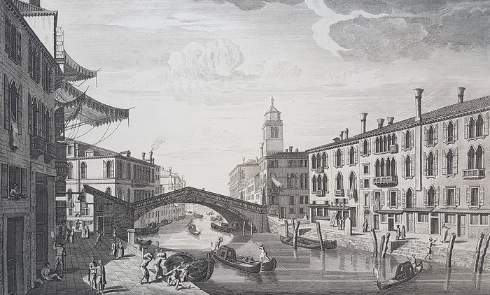 Thomas Bowles (c.1712-1767), after Cimogli and Brooks. - A view of the Bridge on the Canal Regio; and the Church of St Jeremiah to the Great Canal at Venice