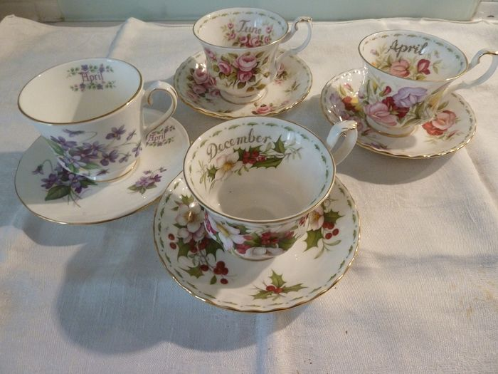 very nice set of 4 cups and their fine porcelain saucers Royal Albert and Duchess (8) - porcelain Bone China England