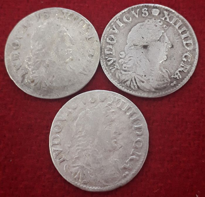 France - Louis XIV - 4 Sols 1676/1677 (3 monedas) - Silver