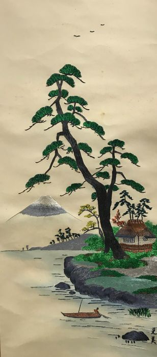 Hanging scroll - Embroidery and wooden shaft head - Delicate embroidery of Mount Fuji - Japan - Late 20th century