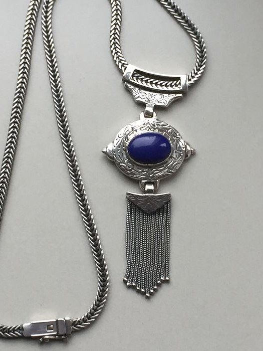 925 Silver - Necklace with pendant Lapis lazuli