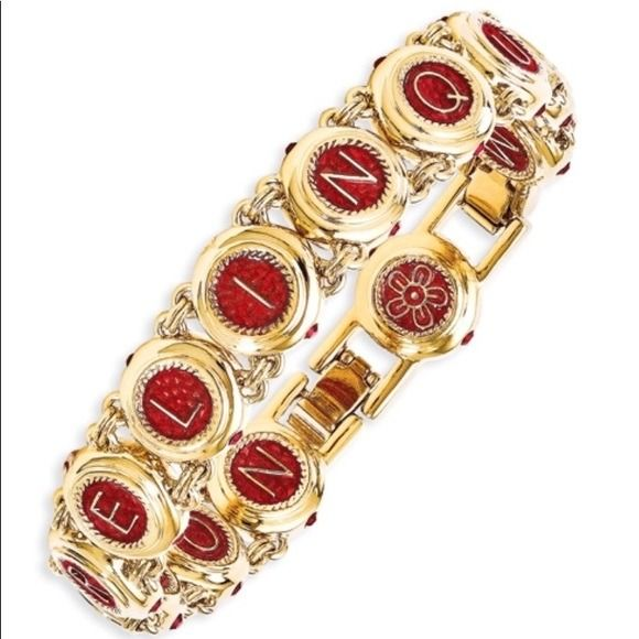"Jacky Kennedy Onassis - simulated ruby ""Love"" Castellani "" 22k gold plated bracelet by Camrose&Kross, exactly a replica JFK"