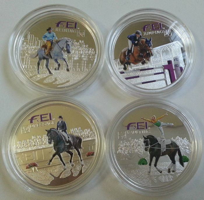 Andorre - 5 Diners 2013 Official FEI 4 Coins Set Horse Equestrian Sport Dressage Jumping Reining Vaulting Box COA 20 g - Argent